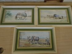 Jason Partner 3 framed watercolours of horse subjects