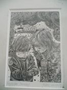 Etching 'Remember Chernobyl' signed Hilary Whyard '86 (20cm x 25cm incl frame)