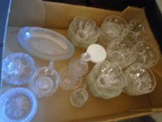 Box of glass dishes, ashtrays, vinegar bottle