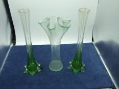 Pair of Glass Vases 12 inches tall and 1 other