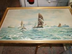 Robin Goodwin Sailing Barges Thames Estuary signed artists print 38 x 21 inches