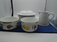 Royal Worcester items, a jug, terrine with lid and 2 bowls