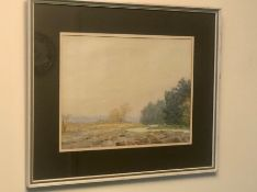 L G Linnell Watercolour River and Trees