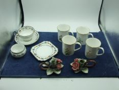 4 Elizabethan Coffee Mugs , 4 Pieces Aynsley ( cup cracked ) and 2 Capodimonte Candleholders both