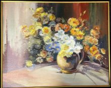 G. Martin a framed oil on board of Daisies in a vase 48x59 cm inscribed G Martin with two other