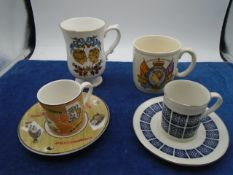 Box of mugs and cups to include royal Doulton and royal family pieces