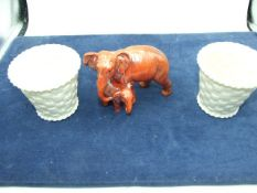 China Elephant and 2 Royal Doulton Pots 3 inches tall