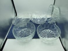 5 Cut / Pressed Glass Dishes