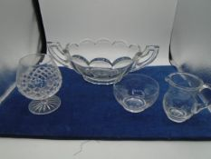 Chippendale vase, brandy glass, jug and bowl
