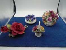 4 x china flower arrangments, 2 of which are Royal Albert country roses- no damage, napoleon red