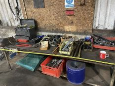 """Metal Welding bench with vice 8ft x 27"""" - (contents of bench not included)"""