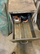 Two draw metal filing cabinet with contents