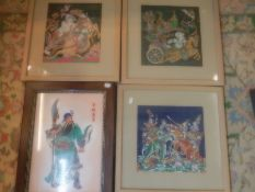 Embroidery on silk pictures and mosaic oriental warrior
