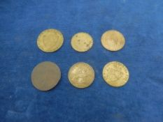 6 Tokens: 5 x spade guineas and 1x Victorian 1837