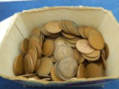 A small box of 1d (pennies) most post victorian