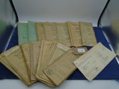 Approx 25 Vintage motor vehicle registration books with various dates from 1935 to 1968 incl Ford,