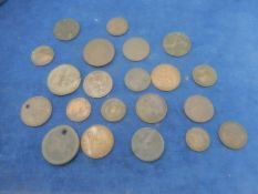 Roman Decvrs 10 together with old copper coins inc an odd vic 1d etc. very worn