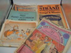 case full of vintage music sheets