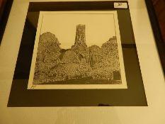 Grey Friars Tower Kings Lynn 8 x 8 inches James Tuck