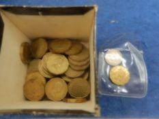 50 plus nickel/ brass 'thrift' 3 pences
