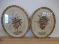 2 embroidery on silk framed pictures