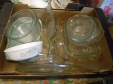 Box of Pyrex dishes