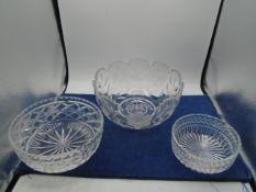 Crystal cut glass bowls x 3