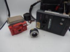kodak EK160 EF instant camera in case, prinzflex lens, Halina camera