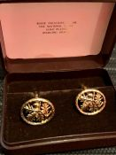 National Trust gold plated sterling Silver Acorn and leaves cuff links