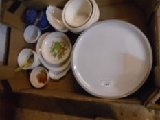 Box of assorted china includes 3 Denby plates
