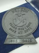 Lead Nelson Plaque 12 inches tall