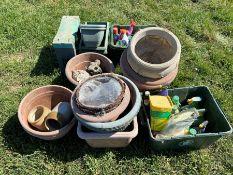 gardening bundle, plant pots and ornaments