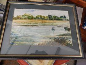Shirley Coughlan watercolour Riverside 13 x 9 inches