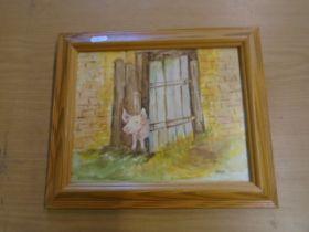 "Audrey Brett Watercolour of pig "" Good morning Margaret "" 10 x 8 inches"
