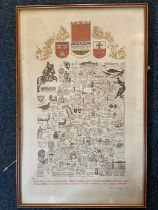 """Map of Northumberland framed 25"""" x 16"""" illustrated limited edition 357 of 502 sheets by J L Carr"""
