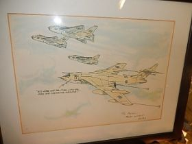 signed Watercolour Victor mk2 Bomber refuelling 11 x 8 inches