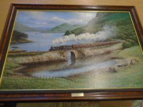 Sky Boat Train oleograph Don Bucken 30 x 20 inches
