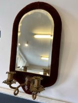 Victorian mirrored wall sconce with velvet surround and beveled mirror with two brass candle holders