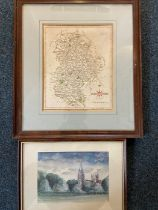A coloured repo map of Bedfordshire published Jan 1793 by J Cary, Engraver & Map seller Strand,