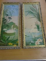 2 Oil on Board of Swans 17 1/2 x 6 1/2 inches