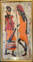 An abstract of an African lady carrying a basket painted on calico fabric signed bottom right,