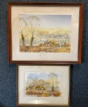 Andrew Findlay, autumn landscape scenes of country houses, watercolours, a pair, signed 38cm x 30