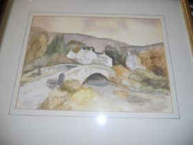 2 Watercolours Bridge over stream 14 x 10 inches & Flowers 13 x 15 inches