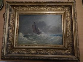 signed oil on board of ship in squall, off Lowestoft 34x28cm