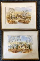 Andrew Findlay, landscape scenes of country houses, watercolours, a pair, signed framed 38cm x 30cm