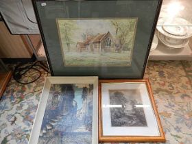 unsigned watercolour of church, J Constable print engraved by C. Cousen of sheep and dog, oil on