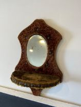 1880's mirrored wall sconce with velvet surround and beveled mirror