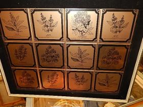 Framed Metal Plaques of Herbs 17 x 12 inches