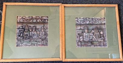 A pair of framed pastel studies, signed in red bottom left 37cm x 37cm each