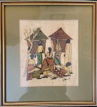 African village life study painted on linen signed bottom right, framed and glazed 36cm x 39cm